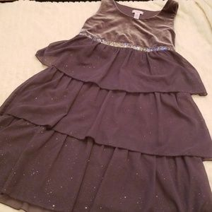 🌹3/$24🌹JUSTICE VELVET GLITTER SHEER RUFFLE DRESS